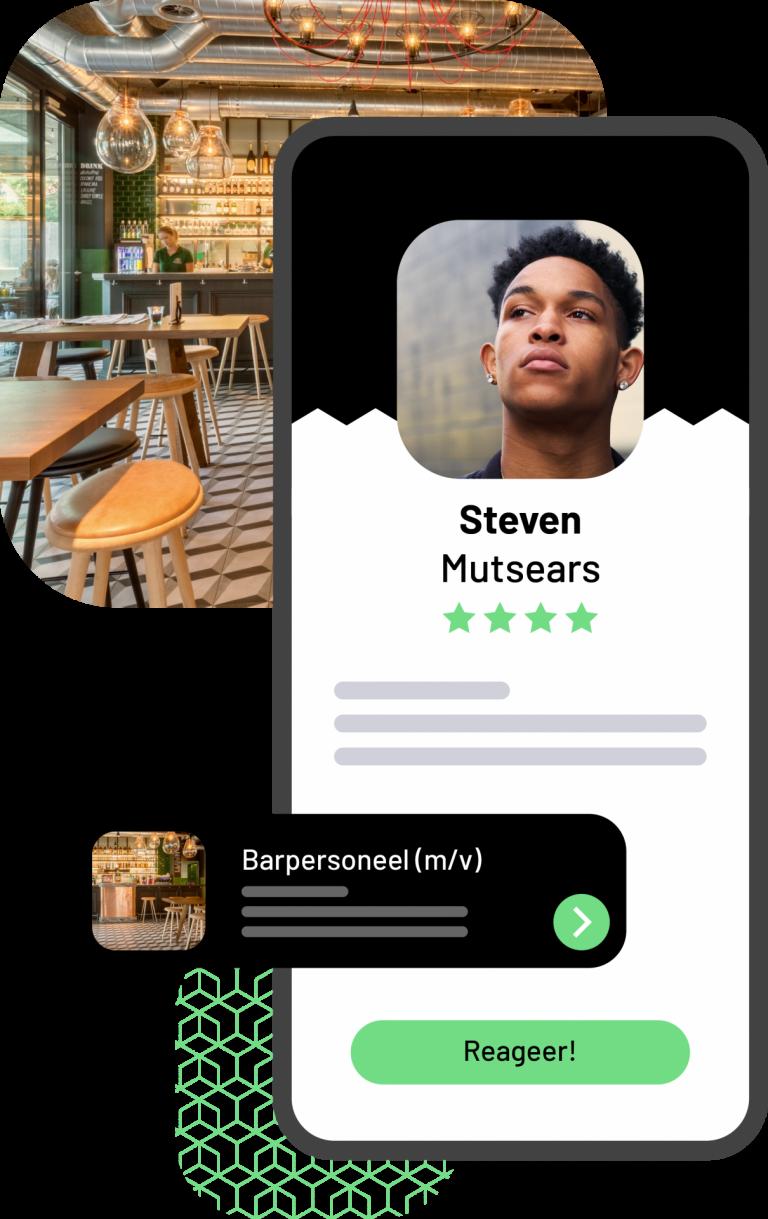 Visualisatie van de Jobner app waarbij het profiel van een freelancer te zien is op een telefoon met daarachter een afbeelding van een bar/restaurant.