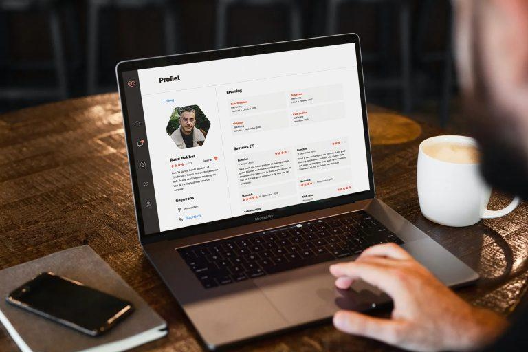 Afbeelding waarop te zien is hoe opdrachtgevers het freelance profiel kunnen inzien binnen hun persoonlijke dashboard.