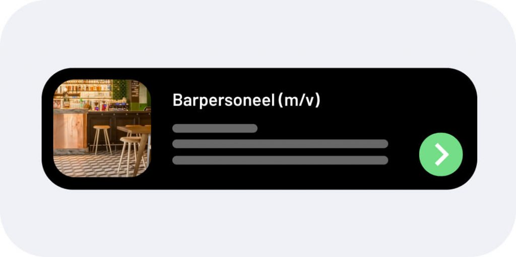 Afbeelding van een soort push notificatie met een job alert.