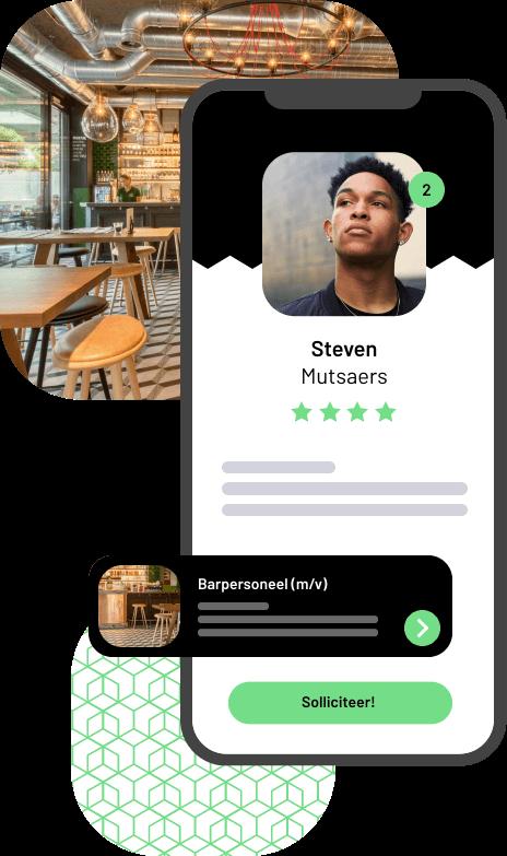 Visualisatie van de Jobner app waarop het profiel van een freelancer op een telefoon wordt weergegeven met daarachter een foto van een bar.